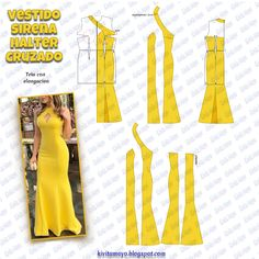 Moda fashion mujer verano for 2019 Wedding Dress Patterns, Dress Sewing Patterns, Doll Clothes Patterns, Clothing Patterns, Sewing Clothes, Fashion Sewing, Diy Fashion, Fashion Dresses, Mode Kimono