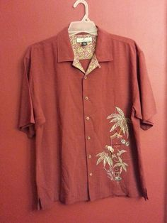 Tommy Bahama Mens 100% Red Silk Camp Shirt Sz L King of Sports Embroidery logo