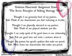 the ideas on happy marriages in 7 principles for making marriage work With more than a million copies sold worldwide, the seven principles for making marriage work has revolutionized the way we understand, repair, and strengthen marriages john gottman's unprecedented study of couples over a period of years has allowed him to observe the habits that can make—and break—a marriage.