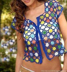 Pull Crochet, Gilet Crochet, Crochet Jacket, Crochet Cardigan, Bolero Crochet, Crochet Shrugs, Crochet Sweaters, Thread Crochet, Crochet Diagram