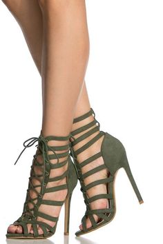 Olive Faux Suede Cage Lace Up Single Sole Heels