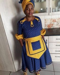 Sotho Traditional Dresses, Traditional Dresses For Kids, South African Traditional Dresses, Traditional Outfits, Xhosa Attire, African Attire, African Wear, Short African Dresses, African Fashion Dresses