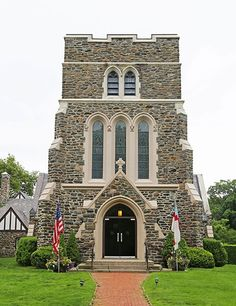 The exterior of St. Luke's Episcopal Church, East Hampton, is clad in stone unearthed during the excavation of the New York City subway system.