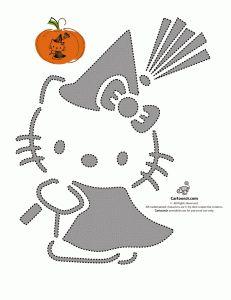 Hello Kitty carved jack o'lantern pumpkin stencil template by Cartoon Jr spotted thru hellokittyforever - Pumpkin Carving Stencils Free, Halloween Pumpkin Stencils, Pumpkin Carving Patterns, Halloween Pumpkins, Fall Halloween, Halloween Crafts, Halloween Decorations, Pumpkin Carvings, Witch Pumpkin Stencil