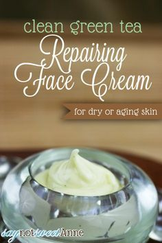 Green Tea Repairing Face Cream healthy, clean and nourishing - great for dry or aging skin!  All oils, no water or aloe vera gel. Use immersion blender attachment.  Makes one 2 oz. container.