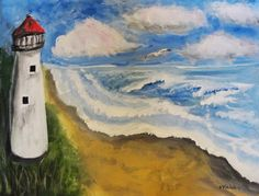 Original Painting The Lighthouse by treasuresheart on Etsy.