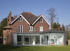 Contemporary rear extension to a traditional house, glass sliding doors, zinc clad extension with glass roof terrace , glass balustrade. London Architecture, Residential Architecture, Contemporary Architecture, Contemporary Design, Architecture Design, Glass Extension, Roof Extension, Zinc Roof, Architects London