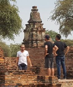Ancient artifacts: On Friday Leonardo DiCaprio visiting ancient Thai ruins during his vacation to the Southeast Asian country