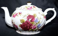 Arthur Wood & Son Staffordshire, England Floral Rose Teapot