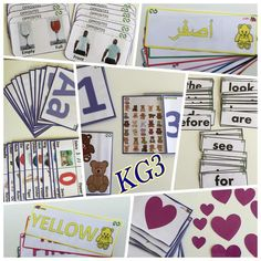 Hand made Customizable full set of KG3 teaching flash cards (English, Science, Math, French, Spanish)