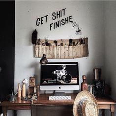 """get sh*t finished"" desk / bedroom / rustic / indie / tumblr"