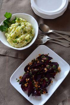 Roasted Beets with Hazelnut Picada +  Mashed Potatoes with Olive Oil Majado
