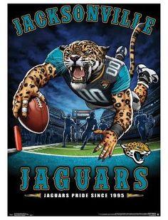 "Jacksonville Jaguars ""Jaguars Pride Since NFL Theme Art Poster - Liquid Blue/Trends Int'l. Football Squads, Nfl Football Helmets, Football Art, Football Posters, Football Signs, Sports Posters, Rugby, Chicago Bears Helmet, Official Nfl Football"