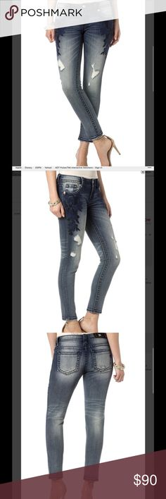 Miss Me Sapphire Skinny Jeans New with tags! Great jeans. 93% cotton, 6% polyester and 1% elastane. Inseam is 27 inches. Miss Me Jeans Skinny