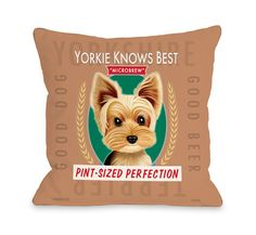 Yorkie Beer Brown Multi Throw Pillow