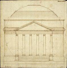 """University of Virginia Rotunda 1819 draft. Eine Kugel in einem Zylinder"""" – Jefferson's Entwurf 1817. Part 1"""