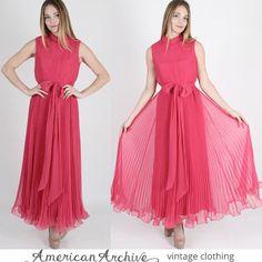 Vintage 60s Bright Pink Chiffon Dress Draped Pleated Cocktail Party Wedding Maxi S maxi dress chiffon dress wedding dress mod dress (64.00 USD) by AmericanArchive