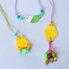 Air-dry clay becomes kids' necklaces. Just add paint and beads!