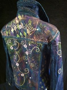 Peacock hand painted denim
