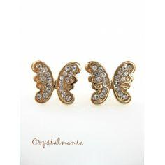 Aretes en forma de mariposa en tono dorado 1.5 x 1 cms estilo 1404