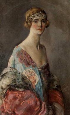 Federico de Madrazo de Ochoa (Spanish, 1875 - 1934) Portrait of lady wearing flowery dress