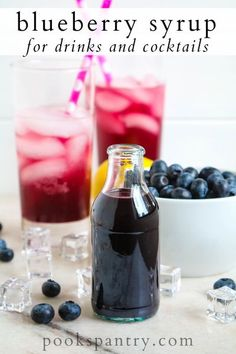 This blueberry syrup for drinks can be used for cocktails, but it also makes a delicious addition to seltzer water for a refreshing blueberry soda.  #blueberrysyrupfordrinks #blueberrysimplesyrup #blueberrydrinksyrup