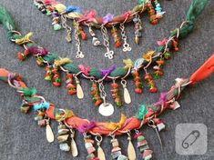 handmade beaded necklace - new season bijouterie Fiber Art Jewelry, Textile Jewelry, Fabric Jewelry, Boho Jewelry, Jewelry Crafts, Jewelry Art, Beaded Jewelry, Jewelery, Beaded Necklace