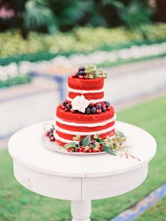A Red Cake! from Gigi-MammaCakes.com -- Photography: Michelle-March.com -- See more colorful wedding inspiration here: http://www.StyleMePretty.com/2014/03/31/red-wedding-inspiration-at-boca-raton-resort-club/ #smp