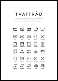 tvättråd tavla, tvättsymboler poster Swedish Quotes, Laundry Symbols, Bra Hacks, Moving Out, Green Cleaning, Home Hacks, Learn English, Good To Know, Cleaning Hacks