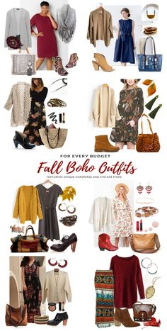 Fall boho style women's outfits for every budget featuring unique handmade and vintage finds Boho Outfits, Casual Outfits, Fashion Outfits, Fall Outfits, Boho Look, Boho Style, Boho Boutique, Boho Fashion Summer, Clothing Hacks