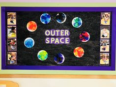 Super outer space art projects for kids bulletin boards Ideas Infant Toddler Classroom, Toddler Art, Toddler Crafts, Infant Bulletin Board, Kids Bulletin Boards, Art Activities For Toddlers, Infant Activities, Space Activities, Space Crafts For Kids