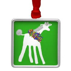 Frond the Giraffe is the star of this cheerful Christmas lights ornament   Frond the Giraffe. Copyright Shari P Kantor Creative Universe SPKCreative LLC. All Rights Reserved.