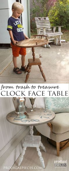 Beaten up table set out for trash turned it into a vintage style clock face table. A trash to treasure transformation by Prodigal Pieces http://www.prodigalpieces.com #prodigalpieces