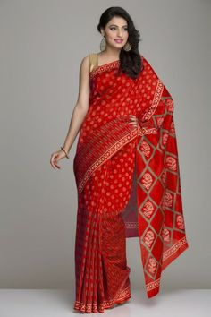 Tempting Tomato Red Chanderi Saree With Beige & Green Hand Block Print