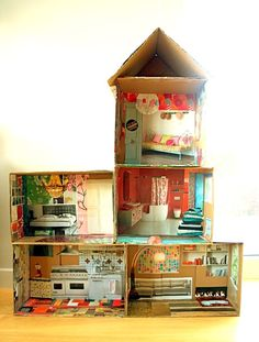 DIY Barbie house - cardboard boxes with magazine pictures - an IKEA catalogue would work great for this project