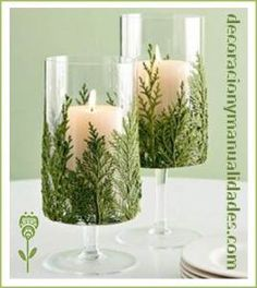 Candle Evergreen Candles - Another simple Christmas decoration idea!Evergreen Candles - Another simple Christmas decoration idea! Noel Christmas, Christmas Candles, Simple Christmas, Winter Christmas, Christmas Crafts, Beautiful Christmas, Christmas Greenery, Christmas Parties, Elegant Christmas