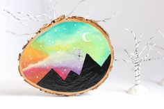 Wood Slice Art Small 3.25 Rainbow Mountain by bytherockandweed