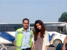 Selena Gomez with a fan at Kathmandu Airport in Nepal