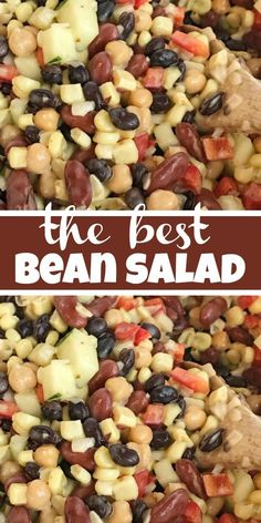 The Best Bean Salad Salad Side Dish This really is the best bean salad ever Easy simple ingredients and fresh vegetables combine to make the tastiest creamiest bean sa. Bean Salad Recipes, Salad Dressing Recipes, Healthy Salad Recipes, 3 Bean Salad, Three Bean Salad, Healthy Eats, Pasta Recipes, Crockpot Recipes, Soup Recipes