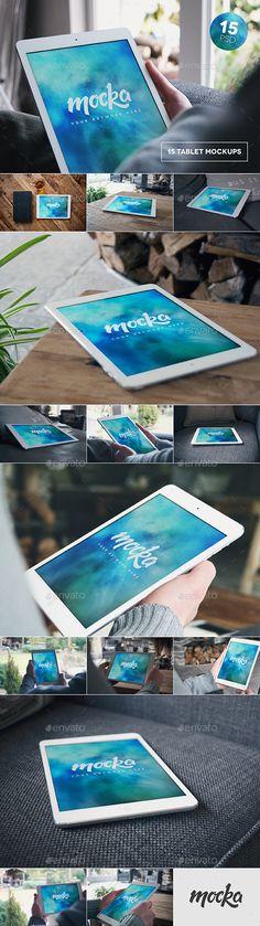 15 Tablet Mockups | #tabletmockup | Download: http://graphicriver.net/item/15-tablet-mockups/10241654?ref=ksioks
