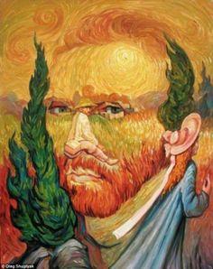 Van Gogh-ing, Going, Gone ~ Optical Illusion Oil Painting by Oleg Shuplyak) Optical Illusion Paintings, Amazing Optical Illusions, Optical Illusions Pictures, Illusion Drawings, Oleg Shuplyak, Illusion Kunst, Illusion Pictures, Double Image, Double Picture