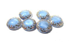 Light Blue Moonglow Glass Shankless Buttons West Germany VINTAGE Blue Luster Buttons Six (6) Vintage Buttons Jewelry Sewing Supplies (F100) by punksrus on Etsy