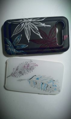 Cell phone and I pod cases decorated w/ marker