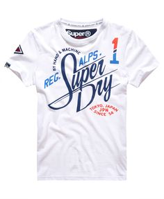 Shop Superdry Mens Alps T-shirt in Optic. Buy now with free delivery from the Official Superdry Store. T Shirt Designs, Branded T Shirts, Printed Shirts, T Shirt Art, T Shirt Custom, Tee Shirt Homme, Superdry Mens, Shirt Refashion, Boys T Shirts