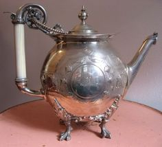 Gorham coin silver teapot c 1865 (SMP Silver Salon Forums) Perfect Cup Of Tea, My Cup Of Tea, Vintage Silver, Antique Silver, Silver Teapot, Silver Plate, Gorham Silver, Tea Pot Set, Tea Sets