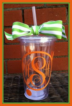 Personalized Cup Tumbler with Straw Monogrammed by ChicMonogram