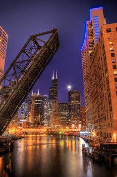 Kinzie Street Bridge, Chicago, Illinois. favorite view of the city. I have so many pictures of this shot