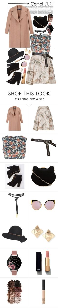 """""""Camel Coat"""" by jessica-hearts ❤ liked on Polyvore featuring Oris, Rochas, Melissa McCarthy Seven7, Glamorous, New Look, Fendi, Billabong, Valentino, Olivia Burton and Chanel"""