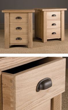 Indigo Oak Bedside crafted with dovetailed drawers. A sturdy design ideal to accompany an Oak Bed. Shaker Furniture, Small Furniture, Recycled Furniture, Furniture Projects, Furniture Plans, Rustic Furniture, Diy Furniture, Furniture Design, Luxury Furniture
