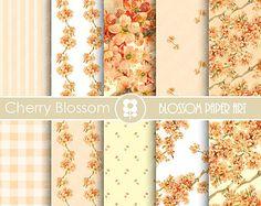 Blossom Cherry Digital Paper Wedding Digital Paper Pack Pink